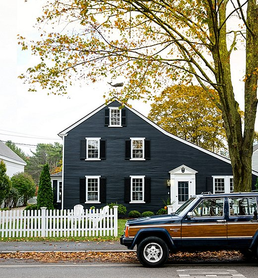 """""""Paul and I moved to Kennebunkport in February after visiting a bunch and just totally falling in love with it,"""" Jackie says. From the town's charming historic homes (like the saltbox above) to its bustling shopping and dining district at Dock Square to its picturesque lobster piers, we can see why."""