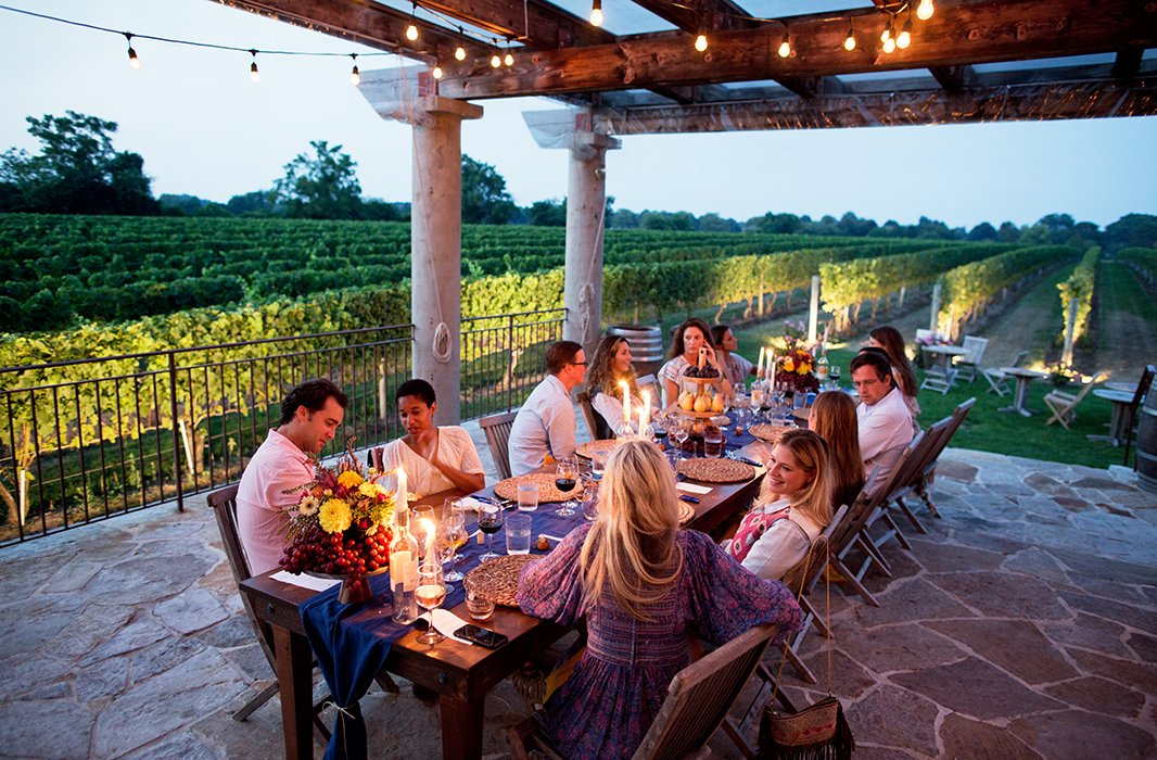 In the glow of candlelight, guests lingered on the terrace long into the evening.