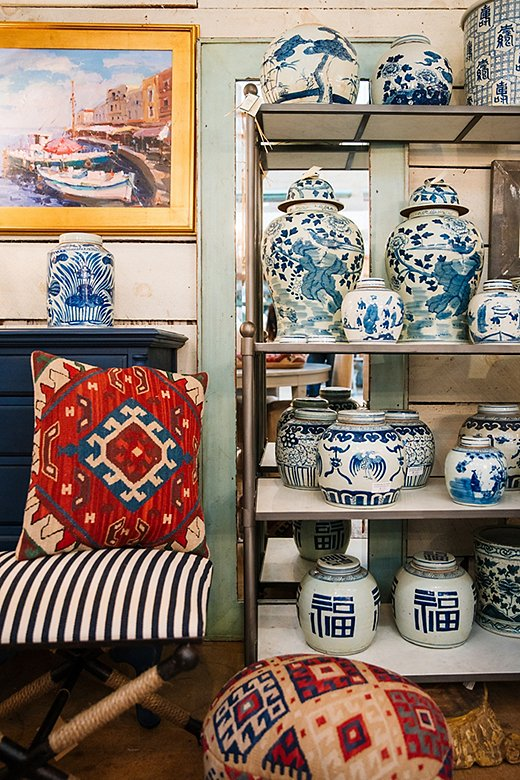 """""""In a town that has so many great shops, Antiques on 9 is a favorite. I love how they layer old with new,"""" Jackie says."""