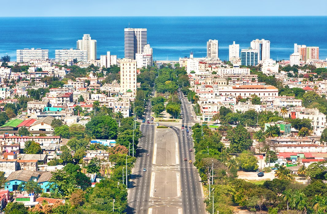 An aerial view of Havana, looking toward the Caribbean Sea. Photo fromShutterstock.