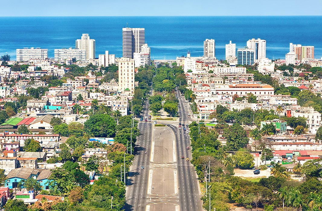 An aerial view of Havana, looking toward the Caribbean Sea. Photo from Shutterstock.