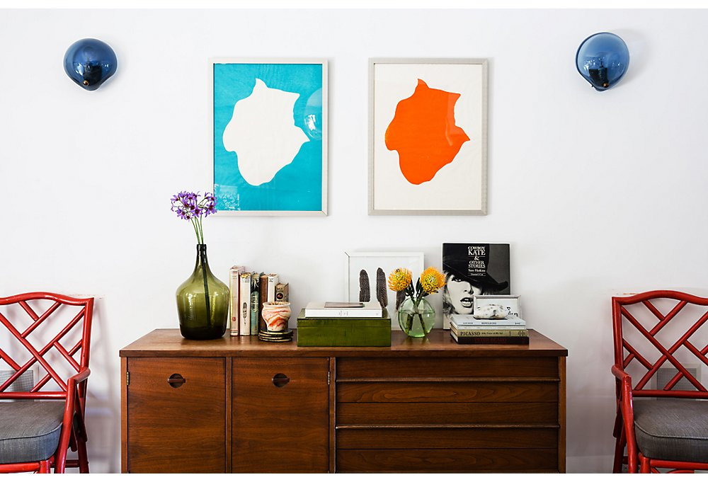 Lizzie scored these Frédérique Lucien prints at a friend's Paris atelier. Among her prized finds is a Danish Modern credenza from the Rose Bowl Flea Market.