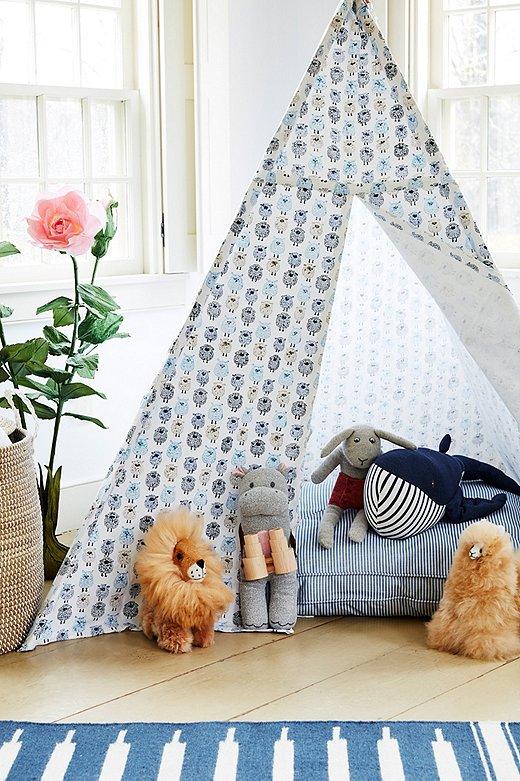 Fitted with an oversize pillow, a tepee becomes the ultimate playtime hideaway.