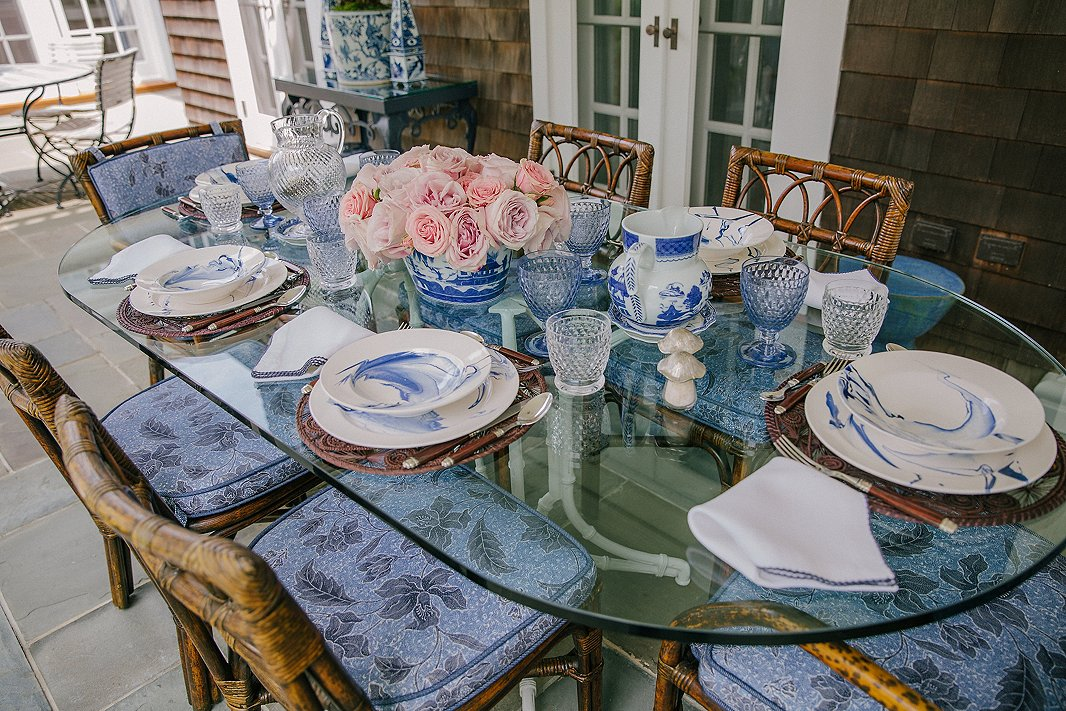 Just a smattering of Alex's collection of blue-and-white tableware.