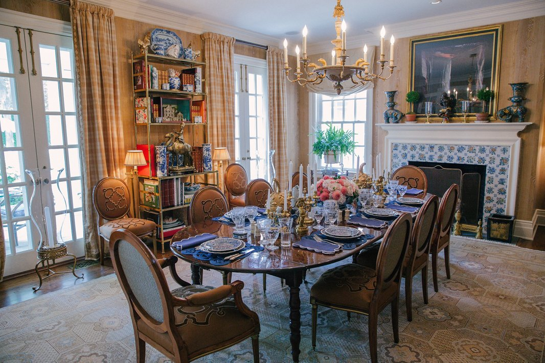 Layers of luxurious fabrics and family heirlooms give Alex's dining room a sensibility that balances time-honored elegance with inviting informality.