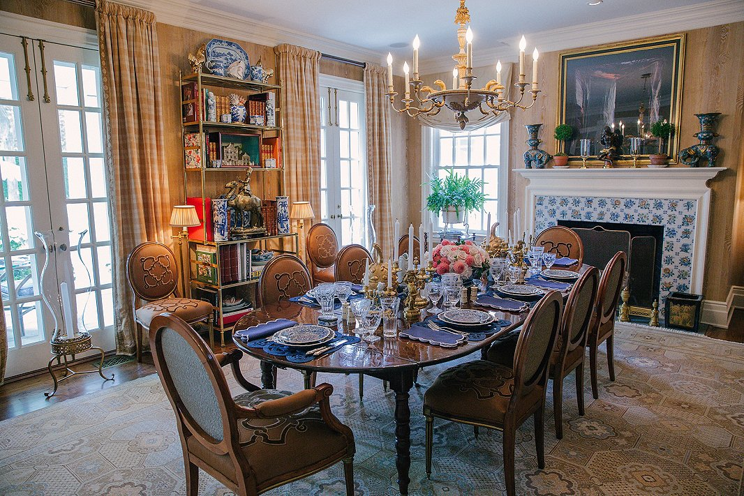 Layers Of Luxurious Fabrics And Family Heirlooms Give Alexs Dining Room A Sensibility That Balances Time