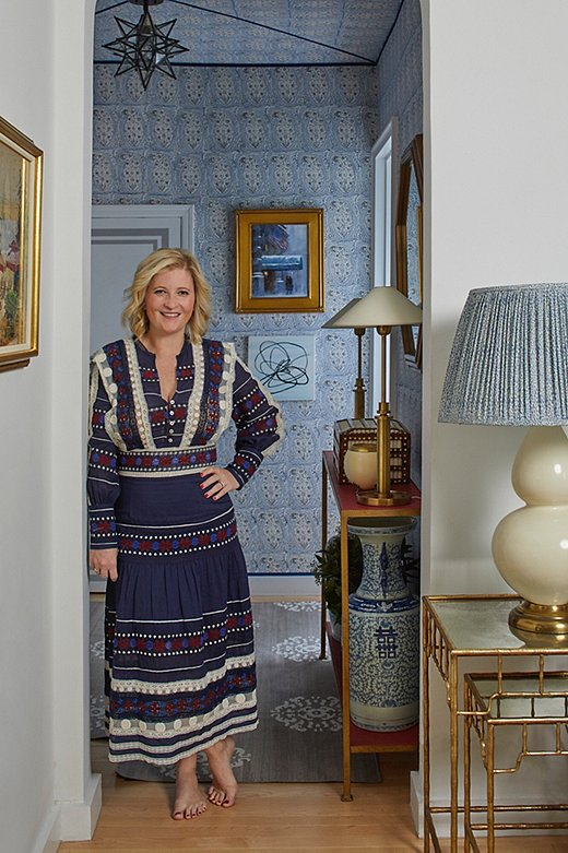 Designer Lilse McKenna in her former Greenwich Village apartment.