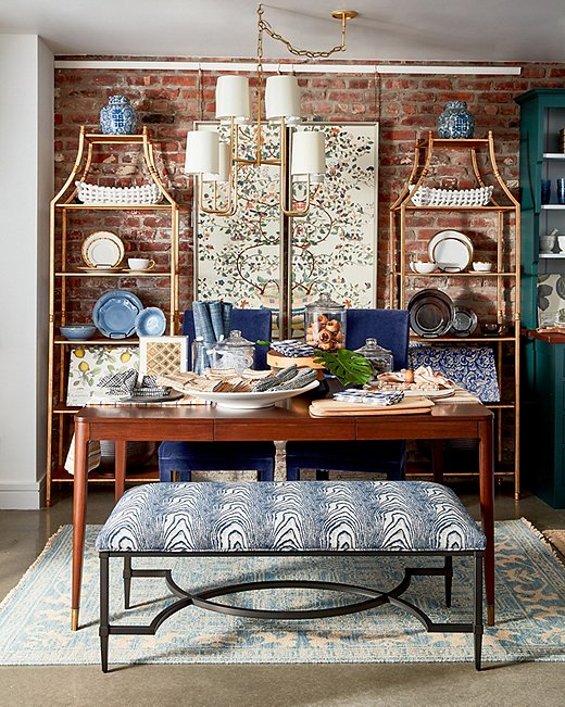 Blue and white aren't just for summer. ThisEstes Benchreinterprets faux boiswith the classic color combo.