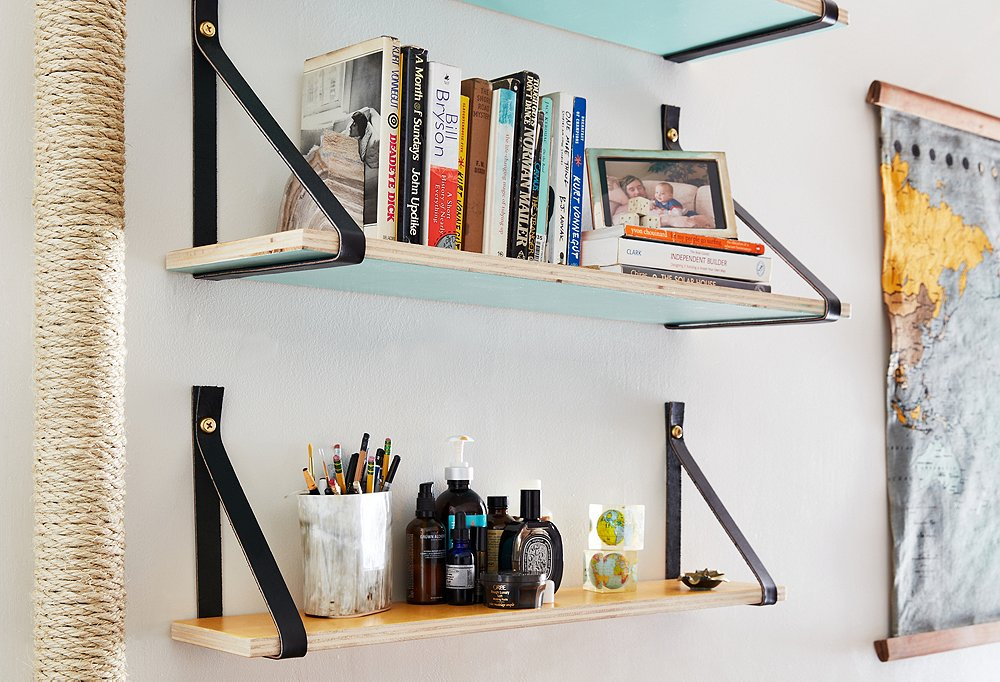 How to Create DIY Wood and Leather-Strap Shelving
