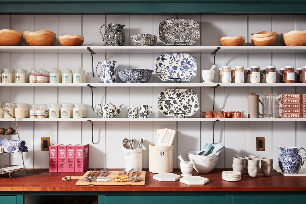 Ralph Lauren's new collection with heritage pottery brand Burleigh adds color and pattern to the kitchen's shelves.