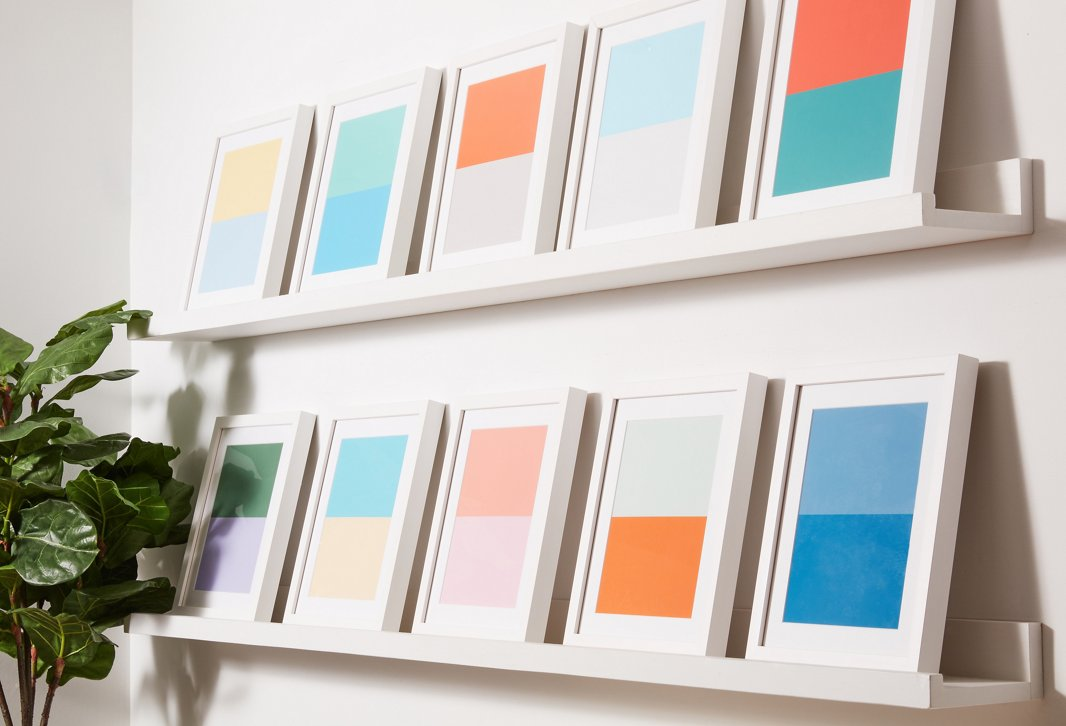 Our best-selling Color Studies art collection, made in collaboration with Pencil & Paper Co. and seen here in the smallest size, adds a playful splash of color to the walls.