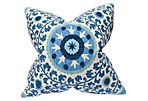 Tribal Azure 22x22 Cotton Pillow, Blue