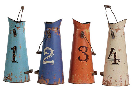 Numbered Tin Buckets, Asst. of 4