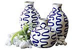 Asst. of 3 Stoneware Vases, Blue/White