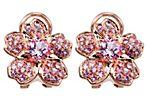 18K Rose Sapphire Topaz Sakura Earrings