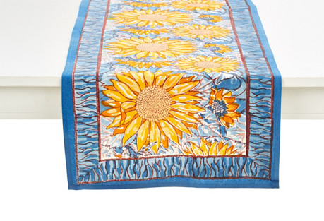 Adorned With A Pattern Of Bright Sunflowers With A Blue Border, This Cotton Table  Runner Adds A Touch Of Fresh Flora To Your Table.