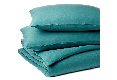 Twin XL Jersey Bedding Set, Dusty Aqua