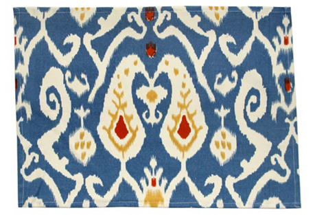 S/4 Ikat Place Mats, Blue/Red