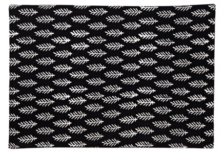 S/4 Place Mats, Black/White