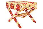 Suzani Stool, Red/Orange
