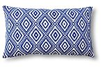 Luna 14x24 Cotton Pillow, White/Blue