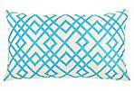 Mani 14x24 Embroidered Pillow, Aqua