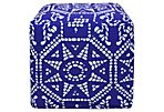 Geo Medallion Outdoor Pouf, Blue