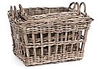 S/3 Striped Rattan Baskets
