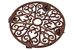 """14"""" Round Cast-Iron Plant Trolley, Brown"""