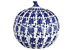 "9"" Ceramic Pumpkin Jar, Blue"