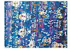 """4'6""""x6' Sari Silk Rhodes Rug, Aqua/Blue"""