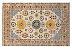 "4'2""x6'3"" Sari Wool Khotan Rug, Ivory"