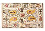 "4""x6'1"" Sari Wool Suzani Rug, Ivory"