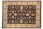 "8'x9'10"" Agra Rug, Black/Ivory"