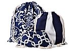 S/3 Drawstring Bags, Navy/White
