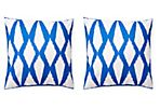 S/2 Twine 20x20 Outdoor Pillows, Blue
