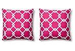 S/2 Geo 20x20 Outdoor Pillows, Magenta