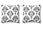 S/2 Ikat 20x20 Outdoor Pillows, Black