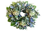 "18"" Eucalyptus & Hydrangea Wreath, Dried"