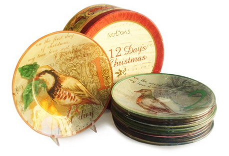 S/12 Twelve Days of Xmas Salad Plates