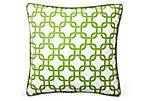 Links 20x20 Cotton Pillow, Green