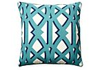 Trap 20x20 Outdoor Pillow, Blue