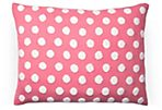 Dots 12x16 Cotton Pillow, Pink
