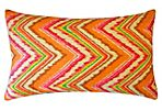 Zigzag 12x20 Cotton Pillow, Orange