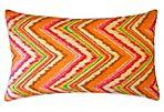 Zigzag 12x20 Cotton Pillow, Orange