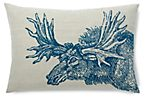 Moose 14x20 Linen Pillow, Blue