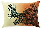 Moose 14x20 Linen Pillow, Orange Ombré