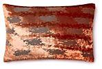 Ikat 12x18 Velvet Pillow, Taupe Copper