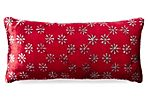 Daisy 7x15 Velvet Pillow, Red