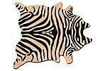 6'x7' Zebra Print Hide Rug, Black/Tan